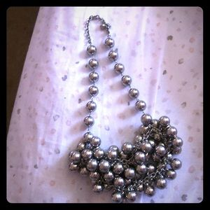 Silver tone ball style necklace